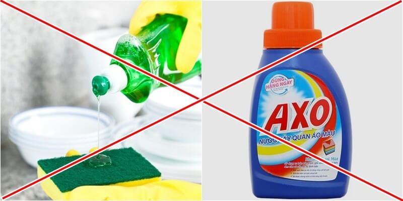 không dùng xà phòng, các chất tẩy rửa